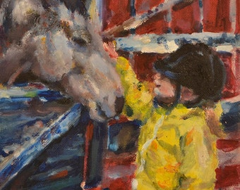 Before the Lesson - original oil on canvas panel painting, horse and little girl, horse and child, equestrian, country lifestyle, horses