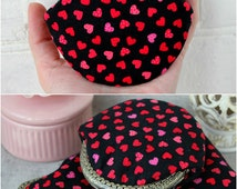 Hearts Coin Purse Valentine Day Girlfriend Gift Black Red Pink Fabric Small Purse metal frame Coin Wallet Pouch coin purse Be my Valentine