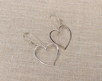 Heart dangle earrings, Sterling silver heart earrings