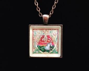 Capricorn Postage Stamp Necklace