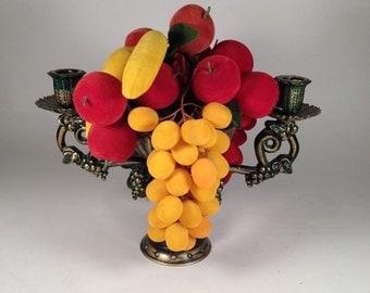 Vintage centerpiece candelabra faux fruit felt plastic