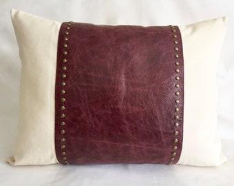 """Studded Pillows  20"""" x 27""""  Red Burgundy Leather and Natural Canvas - Modern Pillows for Sofa Chair - Renaissance Cushions"""