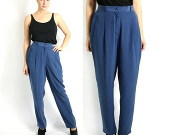 Vintage 80's Betty Barclay Pure Silk Royal Blue High Waist Pants Tapered Leg  - Large