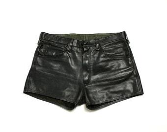 Vintage 80's 90's Black Biker Thick Real Leather Medium Waist Mini Shorts - Medium