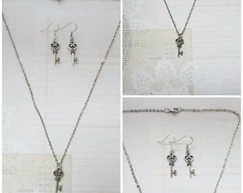 Silver Heart Key Necklace and Earrings Jewelry Set - Ready to Ship