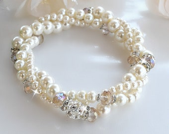 Pearl and Champagne Crystal, Twisted Stretch Bracelet