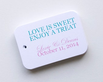 Love Is Sweet Enjoy a Treat Wedding Favor Tags, Small Wedding Favor Tags (RR-001)