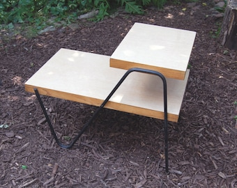 LOCAL PICKUP ONLY – Vintage 1950s Two-tiered Atomic Table with Formica Top and Iron Legs / Living Room or Bedroom End Table