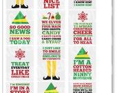 Elf Quote Full Box Planner Stickers for Erin Condren Planner, Filofax, Plum Paper