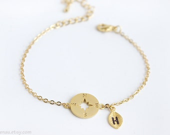 Compass bracelet, personalized initial gold compass bracelet dainty gold chain bracelet delicate modern adjustable bracelet Nautical jewelry