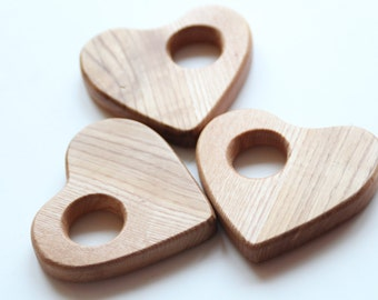 Wooden teether for baby / Organic, stylish and super smooth / Babies first toy / Wooden heart
