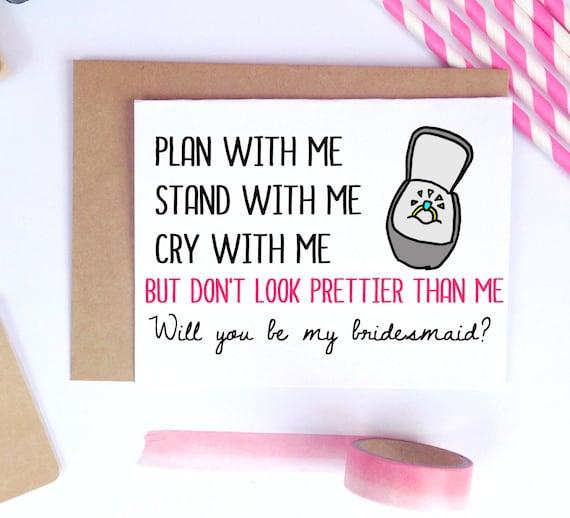 Funny Bridesmaid Proposal Bridesmaid Card Maid By