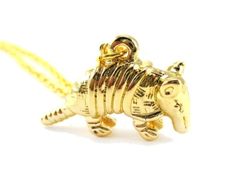 3D Armadillo Shaped Pendant Necklace in Gold   Handmade Animal Jewelry
