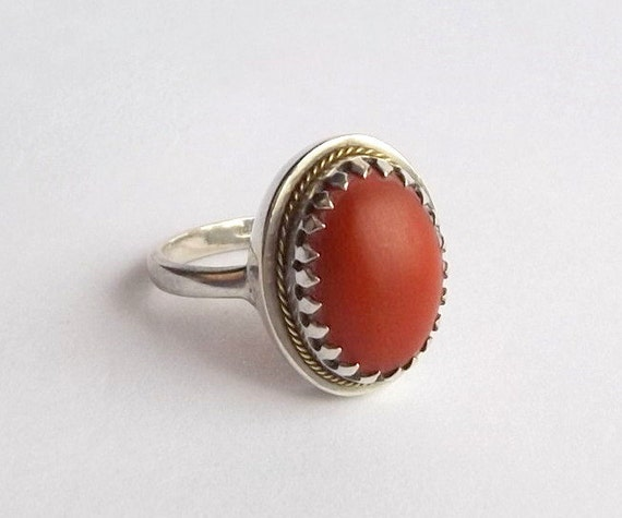 vintage coral ring sterling silver cabochon ring uk