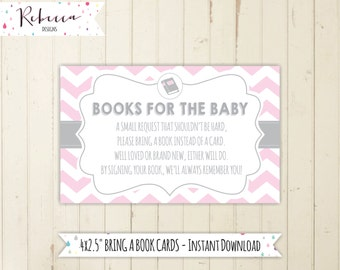 girl book request bring a book card printable pink bring a book instead of a card gray and pink baby shower books for the baby 134 161