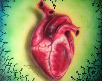 Anatomical Heart with gothic border
