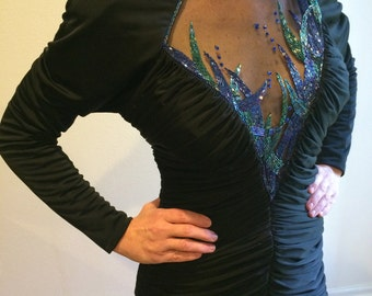 DRESS - Vintage 1980's 80's Gathered Beaded Mesh B;ack Peek a Boo Bodice Dress with Handkerchief Hem in PERFECT CONDITION
