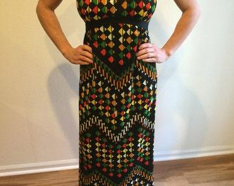 DRESS - Vintage 1960's t B. Altman & Co. Fifth Avenue New York  Leslie Fay Knit Dress OP ART  Geometric Print   Vibrant Multi Colors