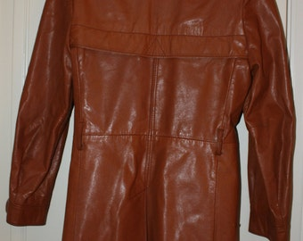 Genuine Cognac Leather Coat