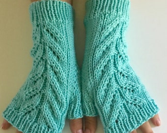 Hand knit fingerless gloves, turquoise blue texting mitts, merino light blue fingerless gloves, hand knit gift.
