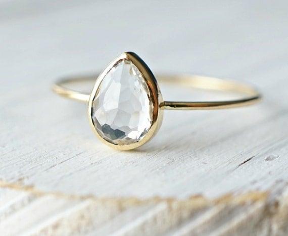 Teardrop White Topaz Ring