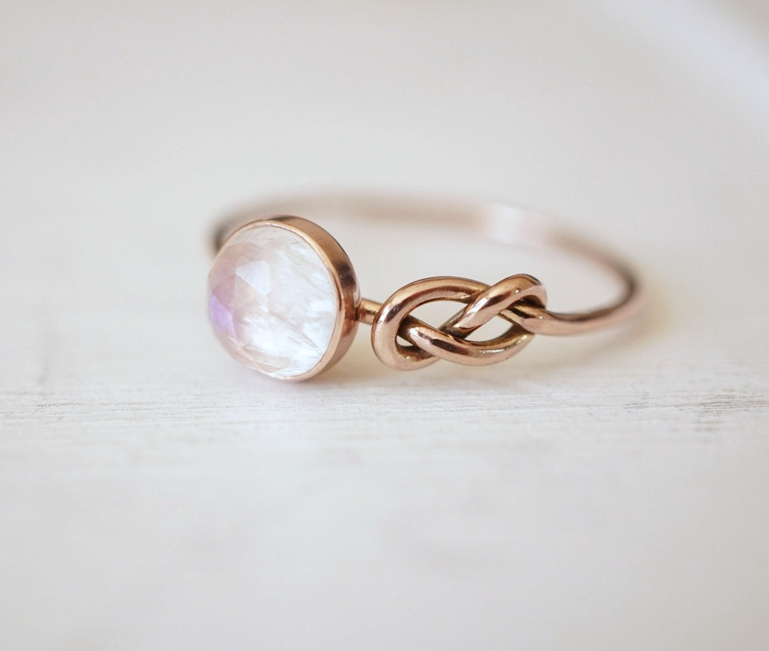 moonstone ring infinity knot ring engagement ring blue by. Black Bedroom Furniture Sets. Home Design Ideas