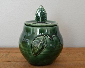 Decorative sugar bowl, condiment jar, covered jar, green jar, jelly jar, trinket jar, pottery jar, green pottery