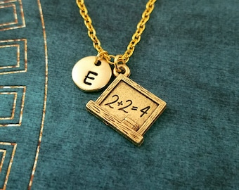 Chalkboard Necklace SMALL School Necklace School Jewelry Teacher Necklace Teacher Jewelry Student Necklace Chalkboard Charm Initial Necklace