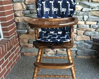 High chair Cover/Pad/Cushion. High Chair cover/Pad/Cushion Navy Giraffe Cushion for vintage highchairs. Navy Giraffe