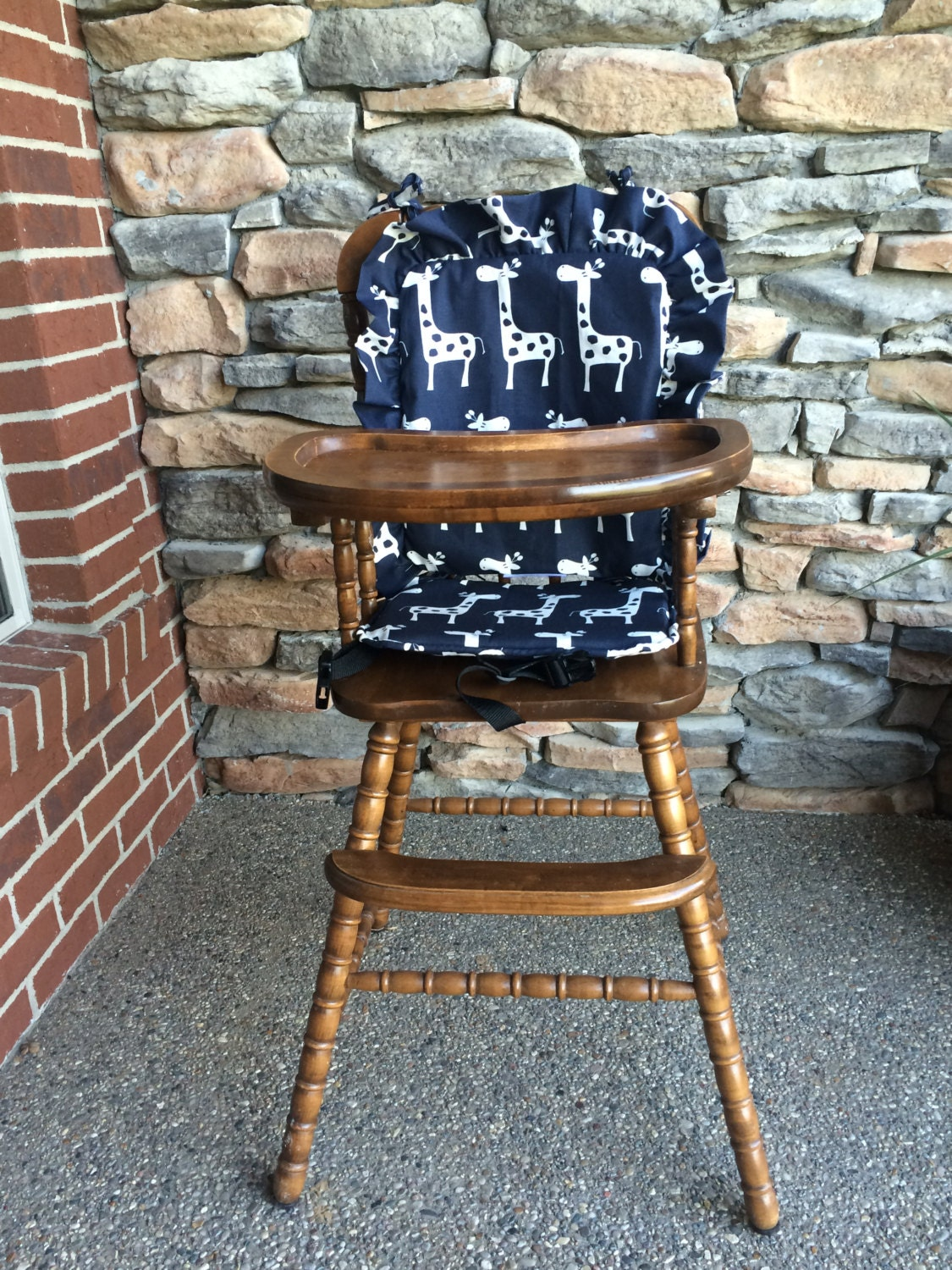 navy wooden highchair cover pad cushion high chair