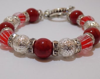 Red Filigree Cane Bracelet