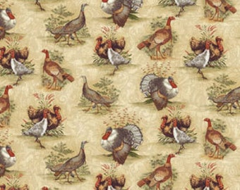 Turkey Fabric, Benartex 2391-70 Turkey Run, Thanksgiving Fabric, Turkey Quilt Fabric, Thanksgiving Quilt Fabric, Thanksgiving Decor Fabric
