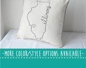 Illinois State Embroidered  Decorative Throw Pillow Cover, United States Chicago Gift