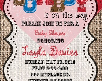 4x6 or 5x7 PERSONALIZED Digital Cowboy Baby Shower Invitation