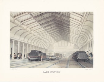 Vintage railway train station Bath Station print illustration home office décor 9.5 x 7 inches