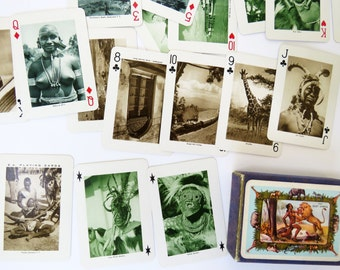 Vintage 50s Visit East Africa playing cards in box