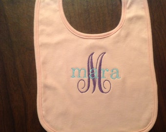 Custom personalized embroidered baby bib.