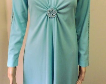 Vintage 1970's Robin's Egg Blue Polyester Knit Sexy BodyCon Maxi W/ Cinched Bodice Brooch Embellishment Cutout Work Trim Approx Size Sm/Med