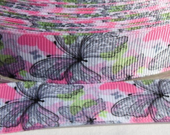 Butterfly Print 7/8 Inch Grosgrain Ribbon by the Yard for Hairbows, Scrapbooking, and More!!