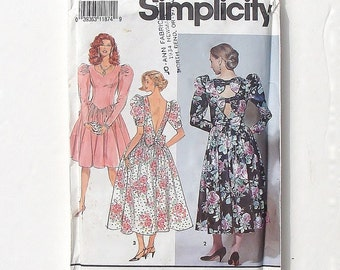 Simplicity Princess Neckline w/ Deep V-Back Dress in Two Lengths Sewing Pattern #7567 - UNCUT - Sizes 12+14+16 - Bust 34+36+38