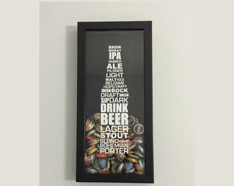 "Bottle Cap Holder Shadow Box - Styles of Beer Typography Design - Black (6"" x 14"") - Vinyl Decal Gifts, Home Bar Accessories"