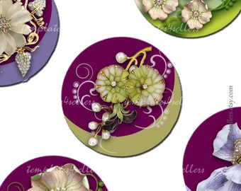 Digital Collage Sheet Jewelry Flowers on 1 inch round images Scrapbooking Pendants Printable Original 4x6 inch sheet  308
