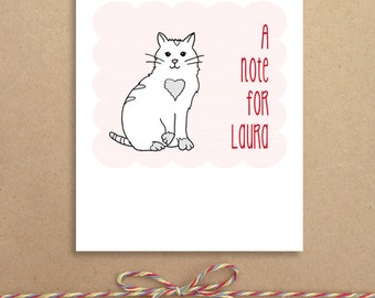 Mini Notes - Cat Valentines - Lunchbox Notes - Classroom Valentines - Flat Mini Notes - Children's Valentines