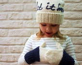Hat and mitten set, Gift set for Girls,  Merino wool, Holiday Accessory, Let it snow embroidery, Xmas Gift, Christmas Gifts