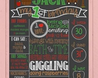 Fall Boy Birthday Chalkboard | Harvest First Birthday Chalkboard | Fall Birthday Board | Apples | Apple Picking | *DIGITAL FILE*