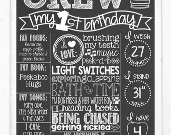 Black and White First Birthday Chalkboard Poster | 1st Birthday Chalkboard Sign | Boy or Girl | Gray | White Chalk | *DIGITAL FILE*