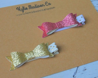 gold and pink glitter petite bow clips, baby hair clips