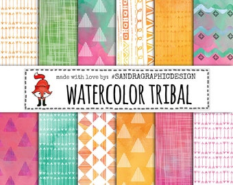 """Tribal digital paper: """"TRIBAL WATERCOLORS"""" with tribal patterns made with watercolor paint, large set, 24 files (1247)"""
