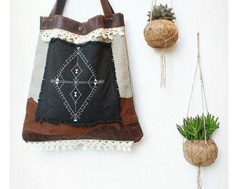 Wanderer Bag 01 - fabric & leather bag.