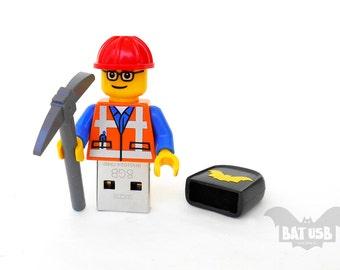 Lego worker usb 8/16/32/64GB - Memory Stick - Lego® original Minifigure - Emmet Lego Minifigure - Lego usb - The Lego movie - Flash drive